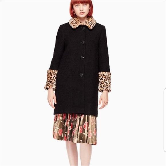 NWT  Kate spade jewel button black boucle coat 4